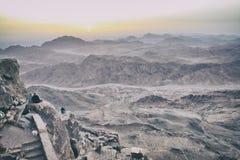 Berg Sinai an der Dämmerung Stockfotografie