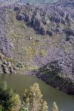 Berg sjö i Antisana den ekologiska reserven Arkivfoto