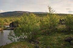 Berg sjö i landskap av den polara regionen Royaltyfria Bilder