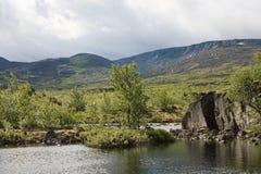 Berg sjö i landskap av den polara regionen Arkivfoton