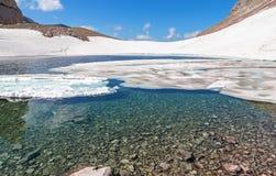 Berg sjö och snö Royaltyfri Bild