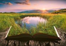 Berg sjö på sidorna av en öppen bok Arkivfoto