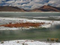 Berg sjö: turkosvattenband bland en vit saltar öken- och bruntkullar under blå himmel med stackmolnmoln, Tibet Arkivfoton