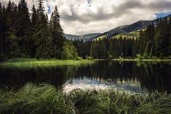 Berg sjö under sommar arkivbild