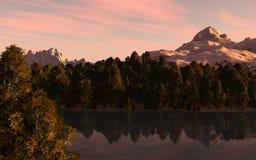 Berg sjölandskap Arkivfoto