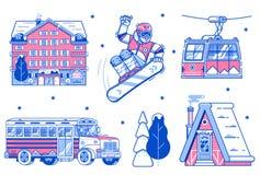 Berg Ski Resort Icons und Elemente vektor abbildung