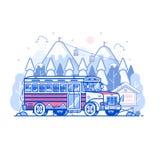 Berg Ski Resort Shuttle Bus stock abbildung