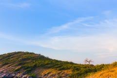 Berg som buktas med härlig blå himmel Arkivbilder