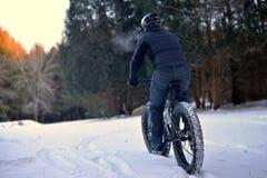 Berg som cyklar i snön Royaltyfri Fotografi