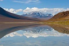 Berg som reflekterar i laken, bolivia Royaltyfri Fotografi