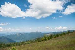 Berg som täckas av skogar och en sjö på en sommardag Royaltyfri Fotografi