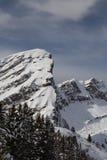 Berg som täckas med snö och moln och träd fotografering för bildbyråer
