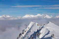 Berg som täckas med snö och moln och träd arkivfoto
