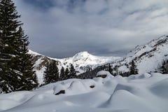 Berg som täckas med snö och omges av moln royaltyfri bild