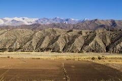 Berg, Straße und bebaute Felder in Argentinien Stockfotos