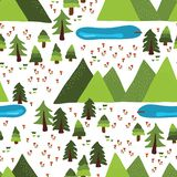 Berg tegelplatta för modell för vektor för plats för sjöar utomhus- royaltyfri illustrationer