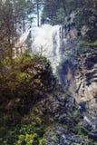 Berg toneel onbeschadigde waterval met ijswater die over stromen stock afbeelding
