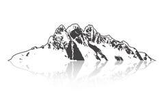 Berg und Abenteuer im Freien Lokalisiertes ausführliches Thema Typografische Aufkleber, Aufkleber, Logos und Ausweise Lizenzfreies Stockbild