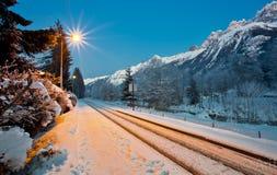 Berg und Gleis Stockbild