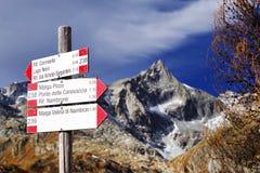 Berg unterzeichnet herein Adamello - alpine Gruppe Presanella Stockbild