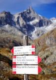 Berg unterzeichnet herein Adamello - alpine Gruppe Presanella Lizenzfreie Stockfotos