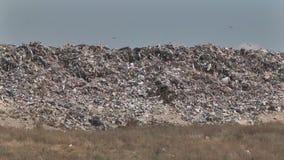 Berg van plastic de flessenpakketten van het huisvuilafval van rottend voedsel stock footage