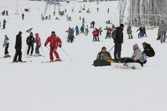Berg van skiërs Stock Fotografie