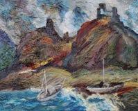Berg, yachter och havet Royaltyfri Fotografi