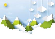 Berg, zon en bewolkt op blauwe hemel achtergronddocument kunststijl royalty-vrije illustratie