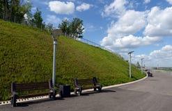 Bergachtig park in Barnaul Stock Foto's
