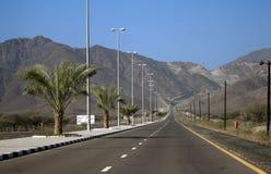 Bergachtige weg in Kalba - Fujairah, de V.A.E Stock Foto's