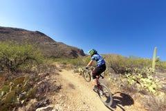 Bergaf fietsruiter Stock Afbeeldingen
