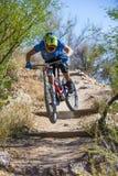 Bergaf fietsruiter Stock Foto's