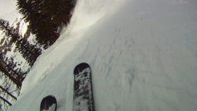 Bergaf het ski?en stock footage