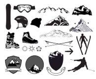 Bergaf het ski?en Geplaatste pictogrammen Stock Foto's