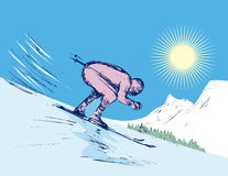 Bergaf skiånd royalty-vrije illustratie