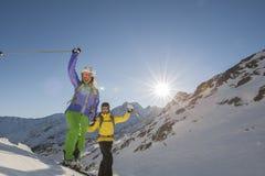 Bergaf ski?end - alpiene ski Royalty-vrije Stock Fotografie