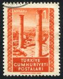 Bergama. TURKEY - CIRCA 1952: stamp printed by Turkey, shows Ruins, Bergama, circa 1952 stock photos