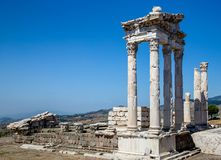 BERGAMA, Turkey - May 26, 2015: Pergamon Museum Ruins Turkey royalty free stock photography