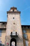 BERGAME, ITALIE - 25 MARS : Vieille tour en Citta Alta Bergamo dedans I Images libres de droits
