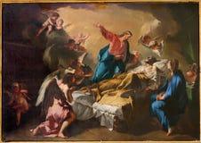 Bergamo - śmierć st. Joseph farba od Dom Fotografia Stock