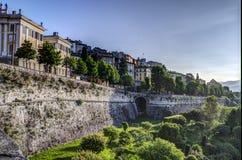 Bergamo Alta, Italien Arkivfoton