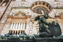 Bergamo, Cappella Colleoni. Bergamo (Lombardy, Italy) - The Cappella Colleoni, historic church, and statue Stock Image