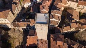 Bergamo - cidade velha A torre histórica de Gombito é ficada situada na parte superior da cidade de Bergamo Fotos de Stock Royalty Free