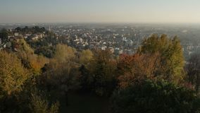 Bergamo is a city in Lombardy, Italy. Autumn sunset stock footage