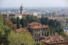 Bergamo. Is a city in Lombardy, Italy. It is situated about 40 km (25 mi) northeast of Milan and 30 km (19 mi) from the lakes Como and Iseo. The foothills of Royalty Free Stock Image