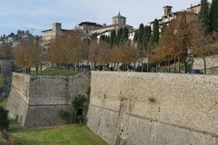 Bergamo - City Walls. Bergamo, Lombardy, Italy - walking along the City Walls royalty free stock photo