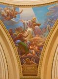 Bergamo - de fresko van heilige Ambrose van koepel van kerk Santa Maria Immacolata delle Grazie door Enrico Scuri (1876) Stock Fotografie