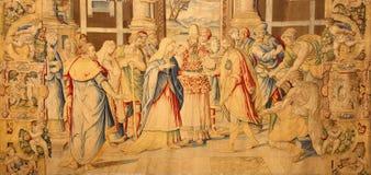 Bergamo - della Vergine (espousals) di Lo Spozalizio della tappezzeria a partire dall'anno 1583 da Alessandro Allori in chiesa San Fotografie Stock