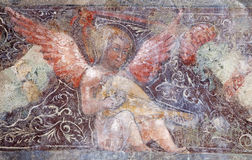 Bergamo - Detail of fresco of angel from church Michele al pozzo bianco. Fresco of main nave is from year 1440 on January 26, 2013 in Bergamo, Italy Stock Image